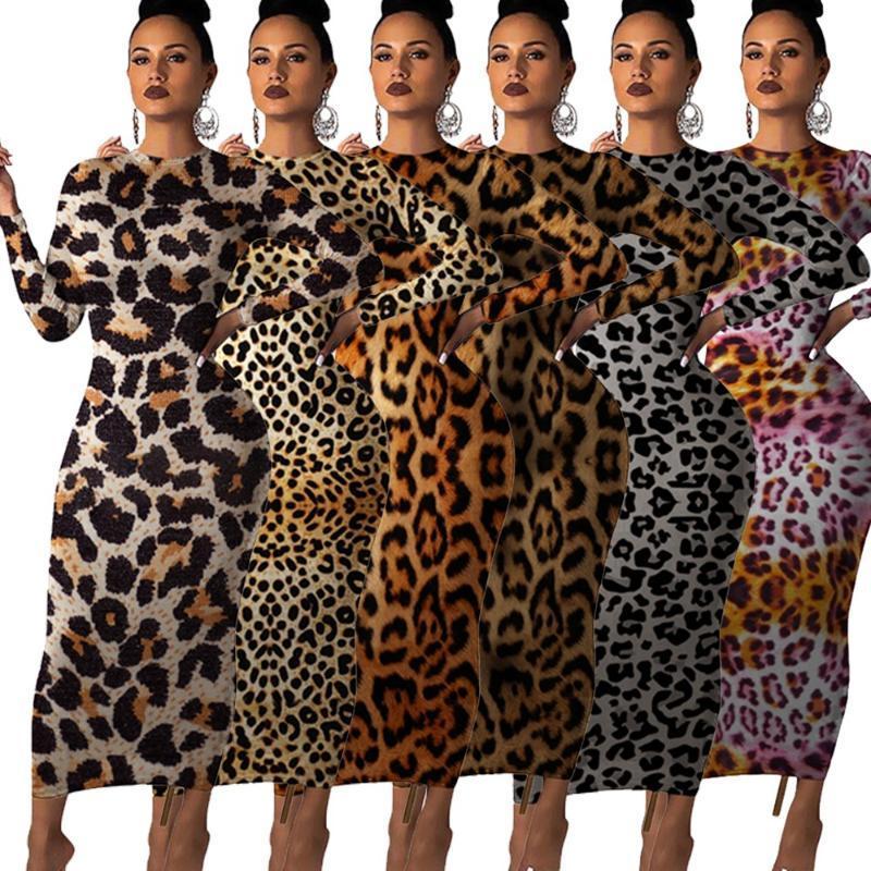 женщины леопардовый длинным рукавом о шее Bodycon миди макси платье Женский клуб ночь партии длинные платья vestidos