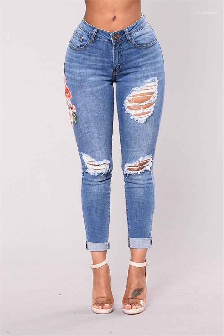 Schule High Fashion regelmäßige Jeans Designer Knie Holes Damen-Jeans klassische Bleistift-Hosen-beiläufige Stickerei Alt