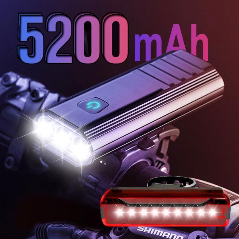NEWBOLER 5200mAh 3 LED Fahrrad-Licht-Kit USB-Fahrrad-Scheinwerfer IPX6 Wasserdichtes Fahrrad-vorderes Licht 2 Halter Halterung Radfahren