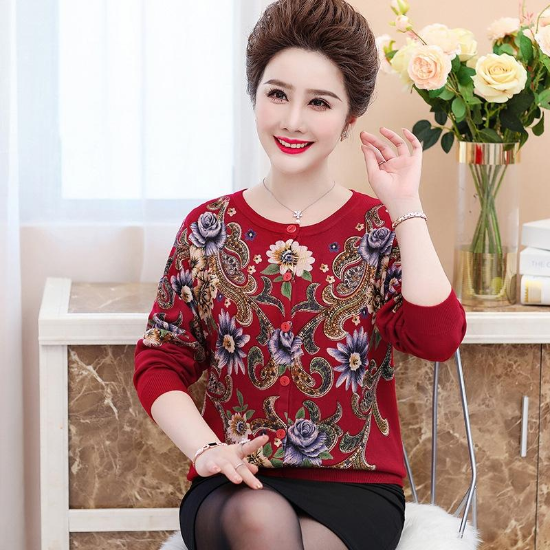 ADmun Autunno Low-collare mamma lavorato a maglia breve sciolto 40 anni, 50 di base lavorato a maglia camicia sw delle donne stampati delle donne di mezza età e anziani