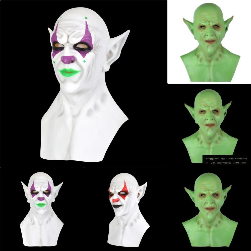 cccWJ Filme Shell Latex Máscara Máscara do rei Ele Pennywise máscara assustadora Halloween Stephen Cosplay Ele Clown látex Máscaras suporte do partido