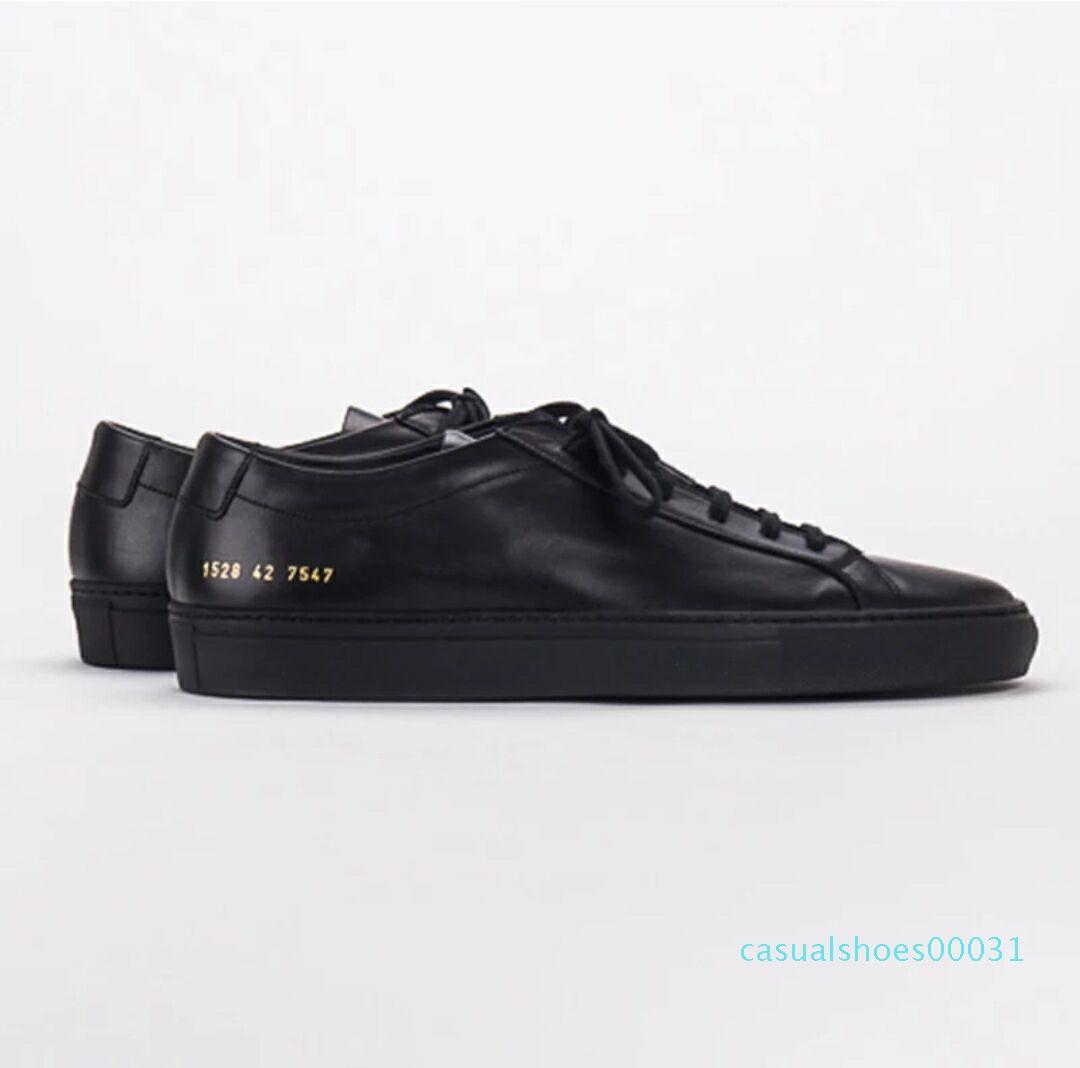 Proyectos comunes de las mujeres blancas Negro bajo C03 Zapatos Hombres Mujeres del cuero genuino de los zapatos ocasionales pisos Chaussure Femme Homme C03