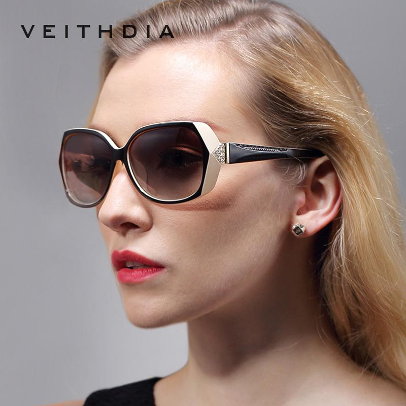 VEITHDIA Retro Vintage TR90 grandes gafas de sol polarizadas tallada diamante señoras de las mujeres Lentes de sol Gafas Accesorios 7011