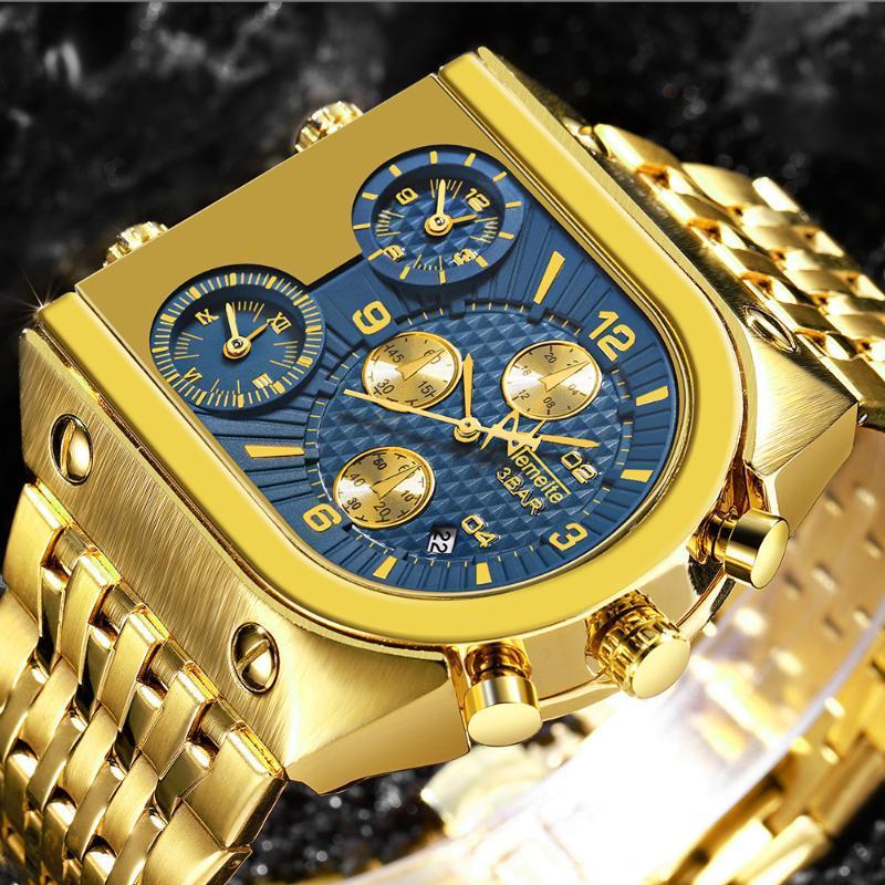 Temete Men's Luxury Golden Orologi da quarzo da uomo Impermeabile maschio orologi da polso Relogio Masculino Dourado Dropshipping