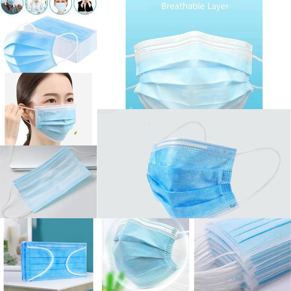 Máscara de poeira prova Segurança respirável Máscara Facial 50 Máscara azul Non Woven Para Salon Uso Doméstico E Escritório # 4537GFO