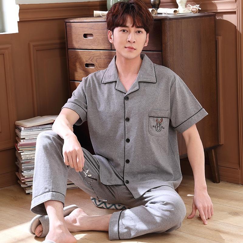JbPPr 7AunE Kısa kollu ev erkek pantolonlar pijama pijama pamuk ince uymak yaz pamuk basit renk katı büyük boy hırka pantolon