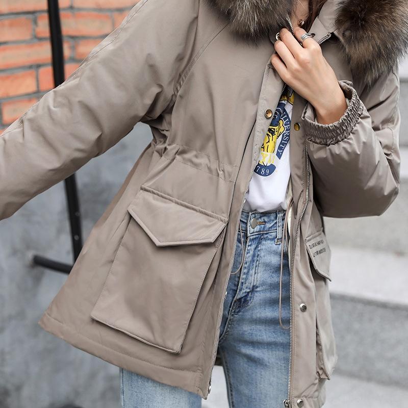 kA09P capa AzZin Nuevo 2020 de mitad de longitud espesó estilo coreano grande de la chaqueta de piel de las mujeres abajo cuello de la chaqueta superar entallada de pato blanco abajo