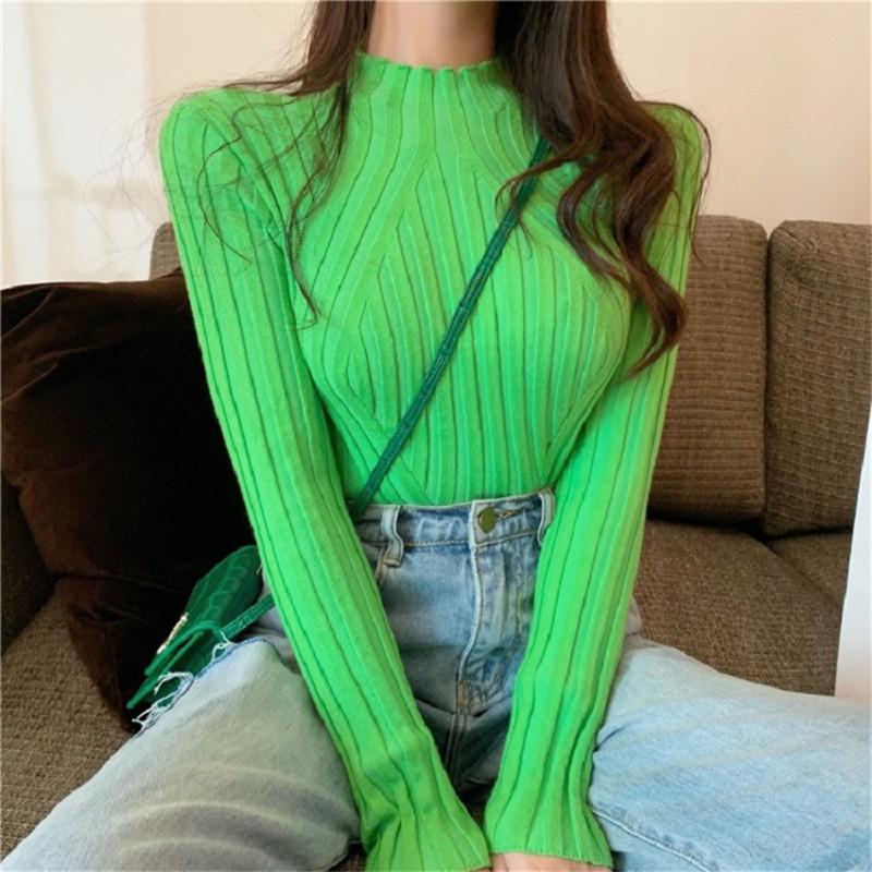 20FW Frauen Pullover strickt lässig solide Farbe Langarm Slim Strick Pullover Tops Neue Frauen CLEANINF