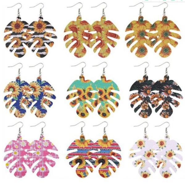 Pendiente Geomertical nuevo de la manera Multi-Color de la hoja de cuero colorida joyería cuelgan Para Mujeres Niñas girasol Parttern pendientes -Z