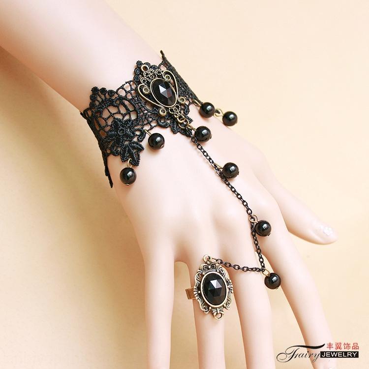 Jóias estilo coreano estilo de moda rendas pulseira pulseira de renda preta pulso Yiwu jóias GS172 rvcur