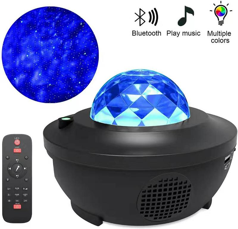 Remote laser Night Light LED music starry sky Projector Ocean Wave Voice Control Bluetooth Speaker Colorful for Kids Game Party Room