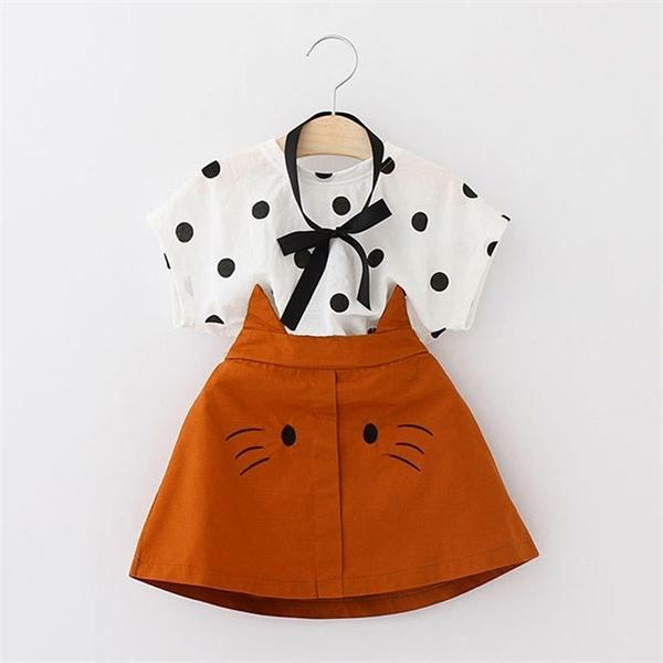 Ropa de las muchachas del niño lindo del verano 2020 KidsSet punto de impresión de la camiseta + del gato bordado Falda Ropa para niños Set 3 4 5 6 7 Años 0926