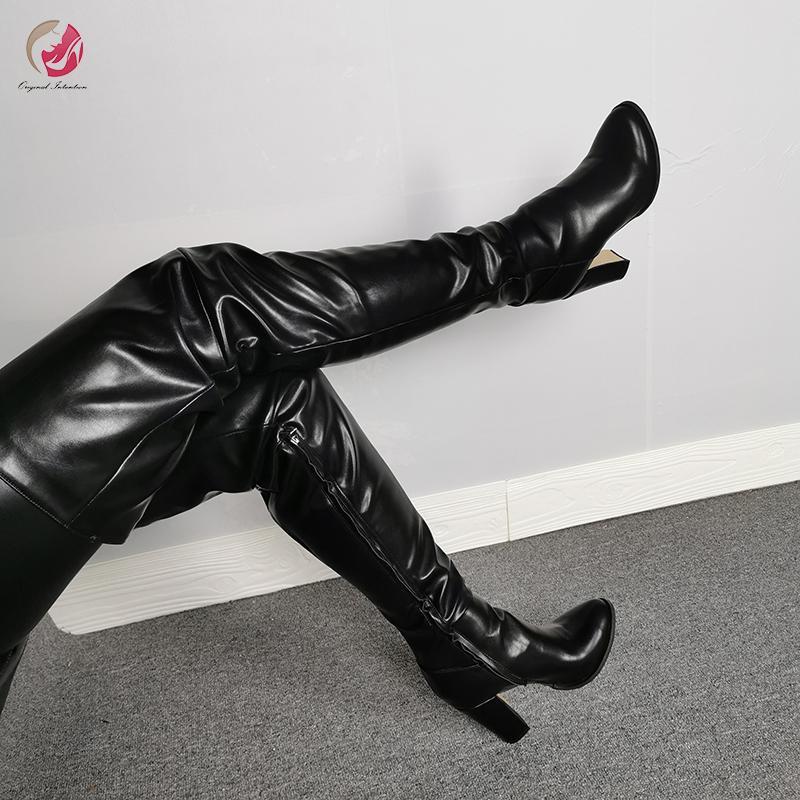 Orijinal Niyet Yeni Tasarım Siyah Üzeri Diz Yüksek Boots Kadın Seksi Süper Yüksek Topuklar Yuvarlak Burun Ayakkabı Kadın Plus Size 4-15