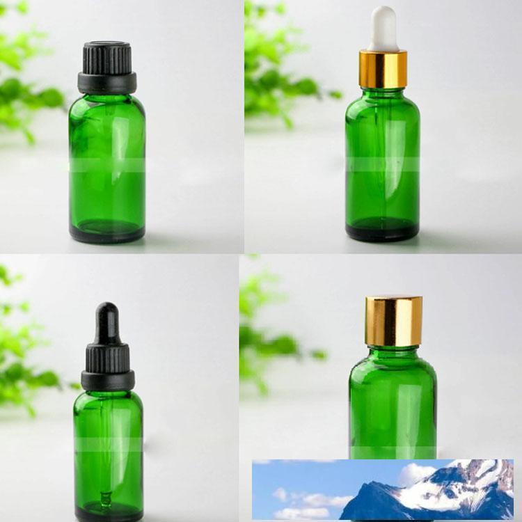 Freies Verschiffen 440pcs 30ml Grün Glas Tropfflasche, 30 ml Grüne Glasflasche mit Schwarz, Silber, Gold Caps, 1OZ Glass Kosmetik-Flaschen