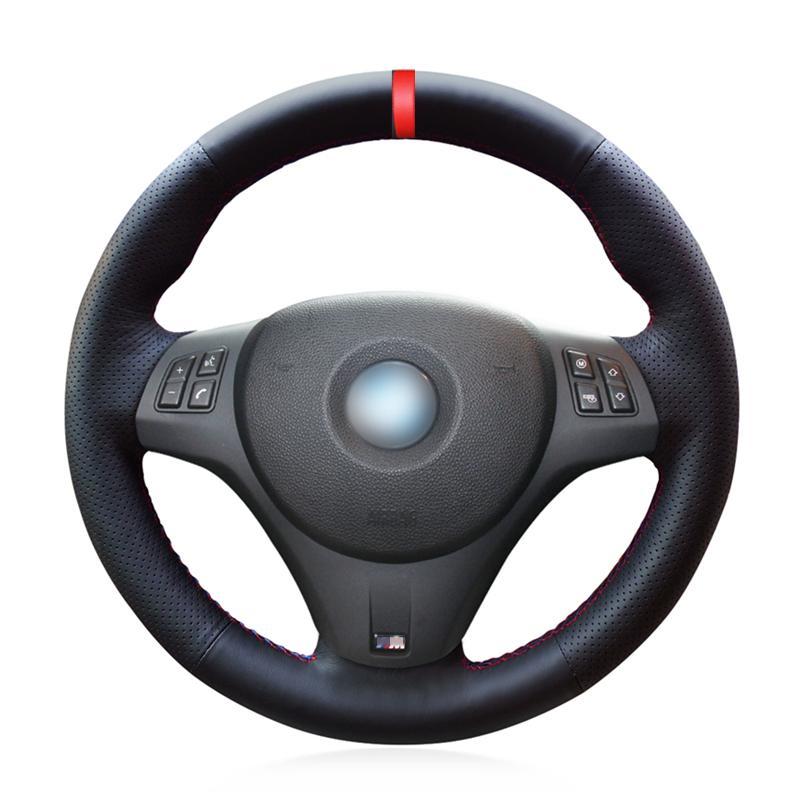 Cuero negro de la PU artificial de dirección Etiqueta de plástico roja del coche cubierta de la rueda de BMW M Sport M3 E90 E91 E92 E93 E87 E81 E82 E88 E84 X1