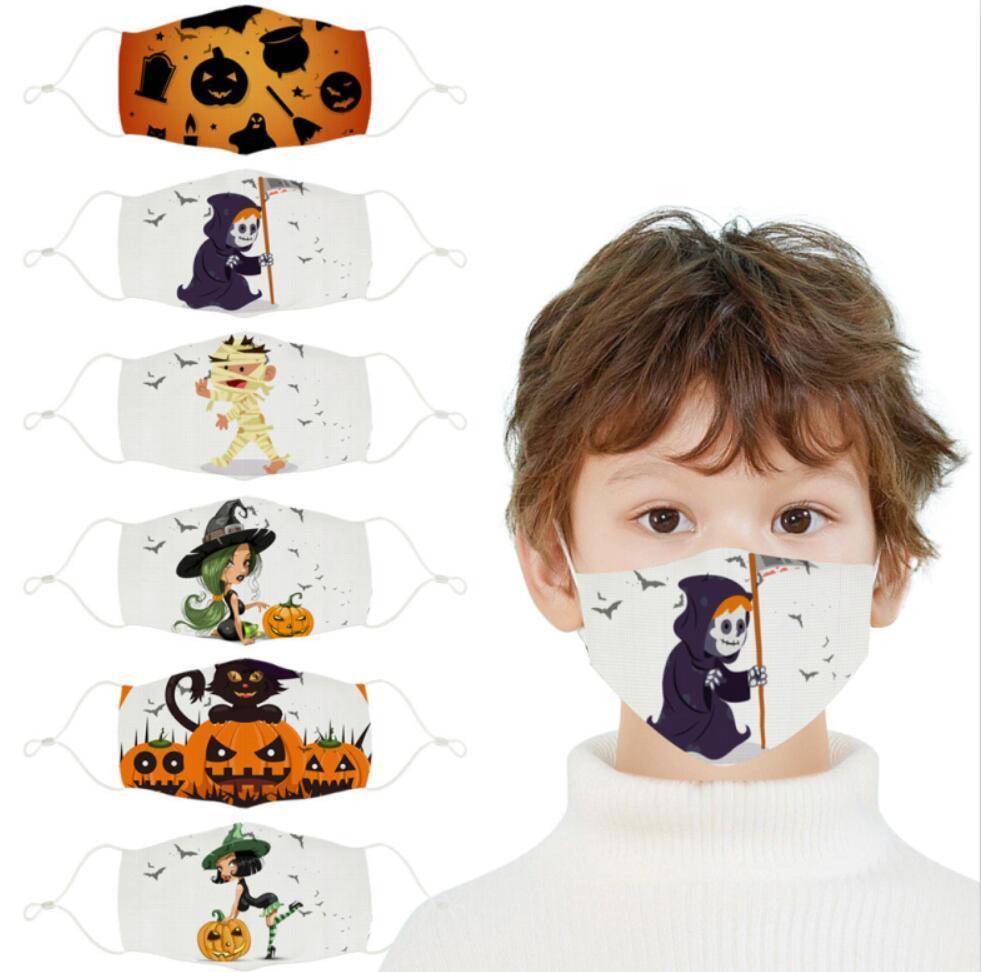 ABD STOK Koruyucu Çocuk Cadılar Bayramı Partisi Maskeler PM2.5 toz geçirmez Pamuk Baskılı Yüz Maskeleri Yıkanabilir Yeniden kullanılabilir Ağız Kapak