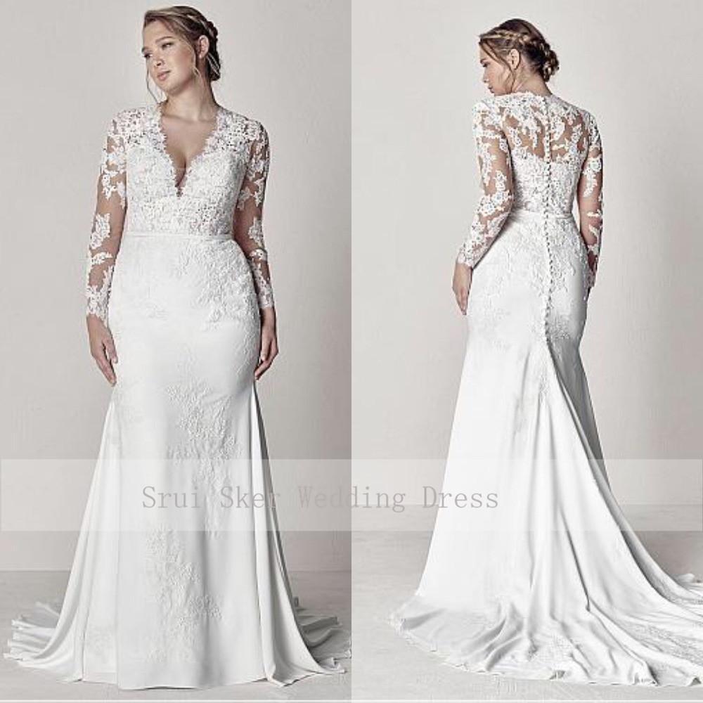 Modest Illusion V-Neck Lace Vestidos de casamento Long Sleeve apliques Sereia Plus Size vestidos de noiva 2019