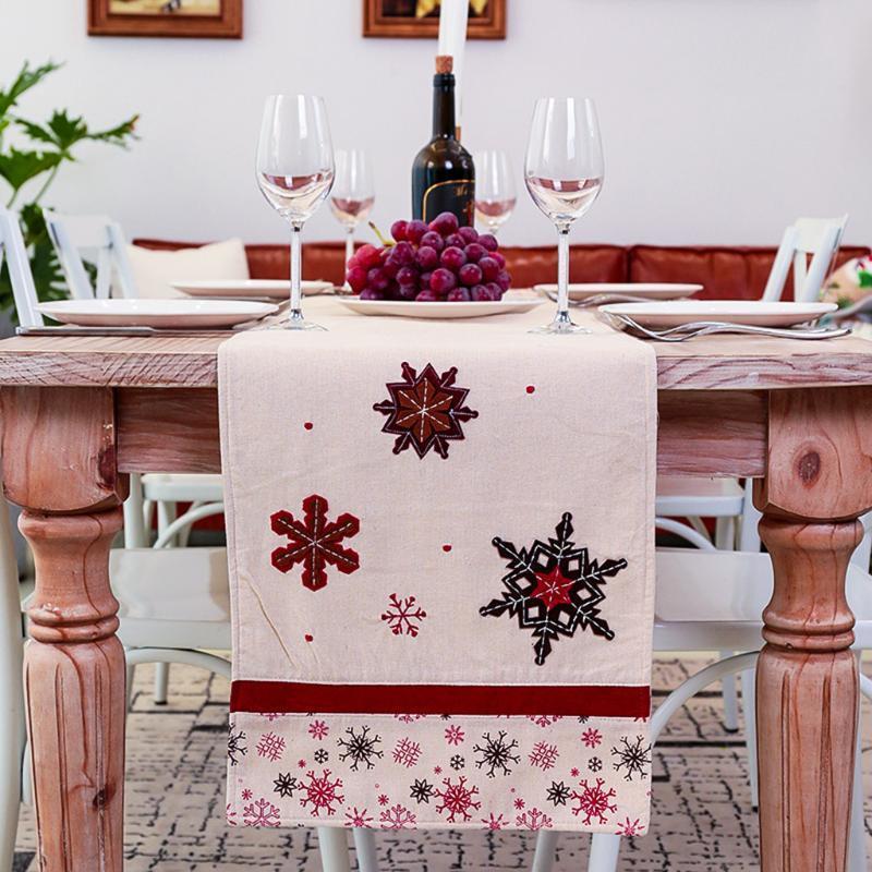 Natale Runner imitazione tovaglia di lino corridori della Tabella Dinning Bandiera di natale nuovo anno Decorazioni di Natale