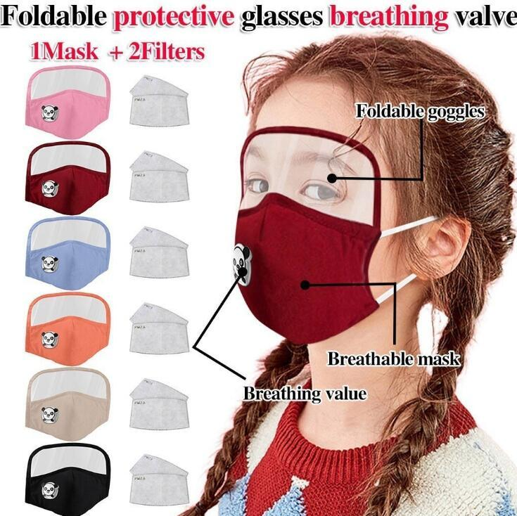 Crianças máscara 2 em 1 Máscaras Protecção dos olhos protetor facial Crianças respiração válvula Máscaras Dustproof Proteção cobrir a boca com 2 Filtro AAD1945