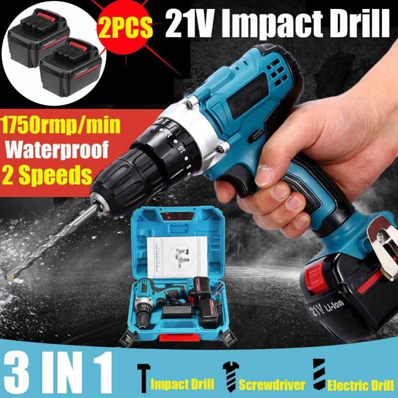 21V Impacto Broca elétrica chave de fenda elétrica Broca de mão Bateria Cordless Martelo Home DIY Power Tools com caixa