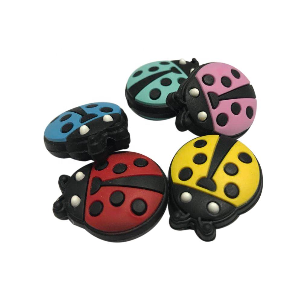 Ladybug BPA Free Food Grade Silicone Teething Loose Beads Baby Chew Toys Beetle Silicone Teether Beads for Jewelry Making Wholesale Bulk