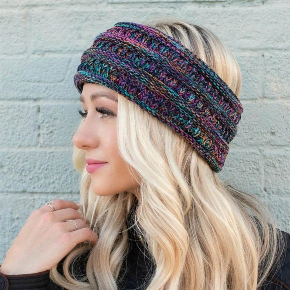 Örgü at kuyruğu Kafa Örme Tığ Geniş Hairband Kadınlar Kış Headwrap hairbands Kulak Isıtıcı Kulaklık GGA2893 6Nwr #