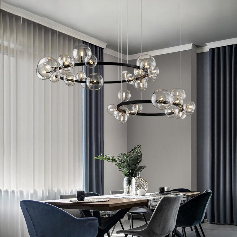 Artpad Nordic Nero LED lampadario luce 7/10 bolla di vetro del paralume gastronomia Sala panno Conservare appeso Lampadario Illuminazione lampadina G9