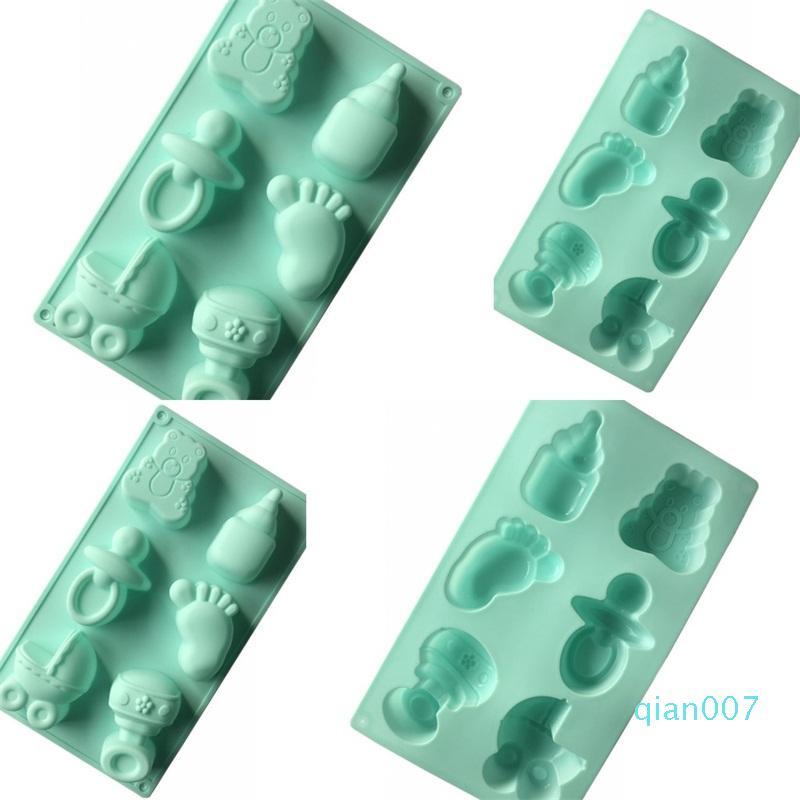 Duche chupeta Pé Modeling Bolo de Moldes bebê DIY Handmade Soap molde 6 furos Posição verde Silicone Moldes 5xg L1
