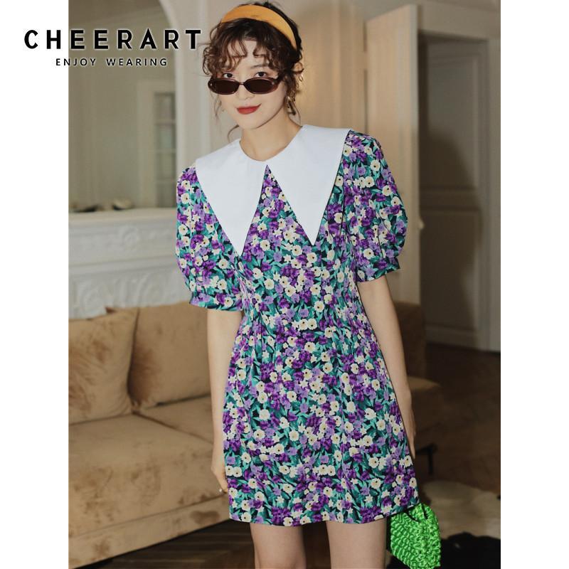 CHEERART Puff Sleeve Summer Floral Dress Peaked Neck Tunic A Line Mini Dress Women Short Sleeve Dresses Clothing
