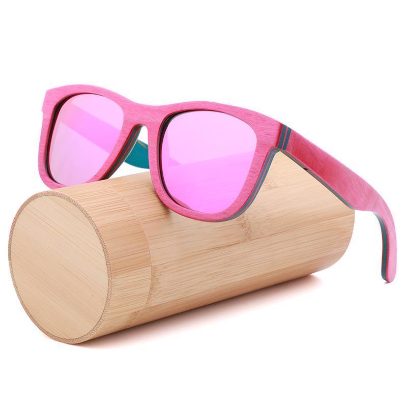 Handgemachte Retro- farbiges Holz Sonnenbrille polarisierte für Driving Sonnenbrillen für Frauen und Männer aus Holz Case Beach Anti-UV-Gläsern