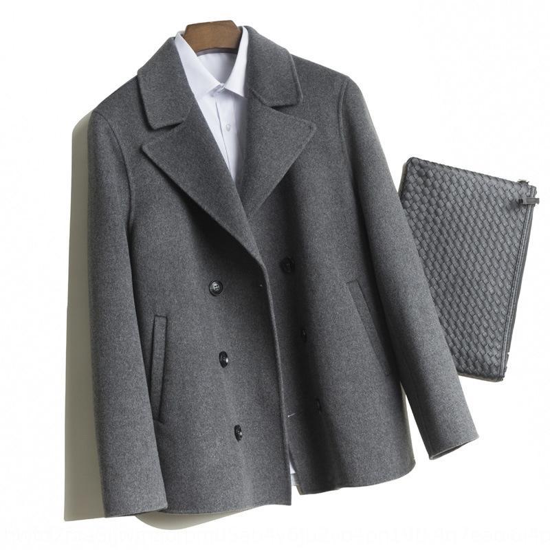 KmpqZ 2020 novo casaco de lã artesanal dupla face lã dos homens casaco livre de cashmere de moda lã lã roupas masculinas