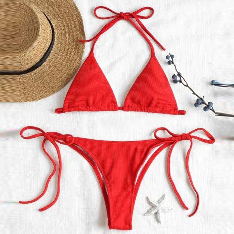 Новый сексуальный бикини раскол купальник сплошной цвет специальной ткани купальник бикини