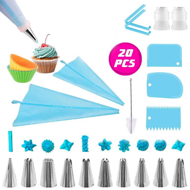 20pcs / set aço reutilizável gelo Piping NozzlesPastry Creme Dicas inoxidável pastelaria Bicos Baking Pastry Bag bolo ferramenta de decoração