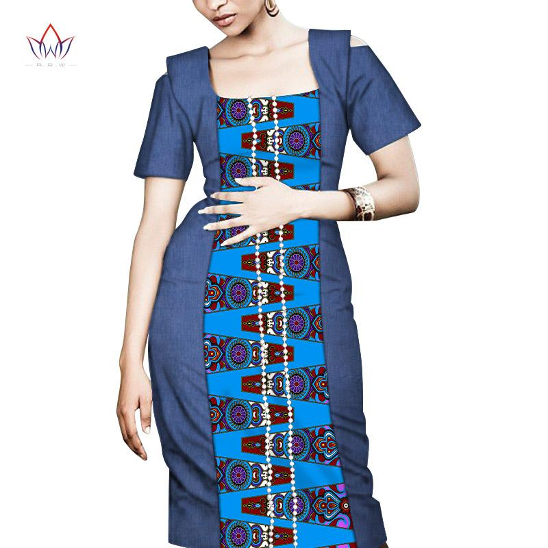 África verano vestidos para las mujeres Vestidos Perlas cuadrado de impresión de la tela de África ropa elegante SlimAfrican Ropa WY7556