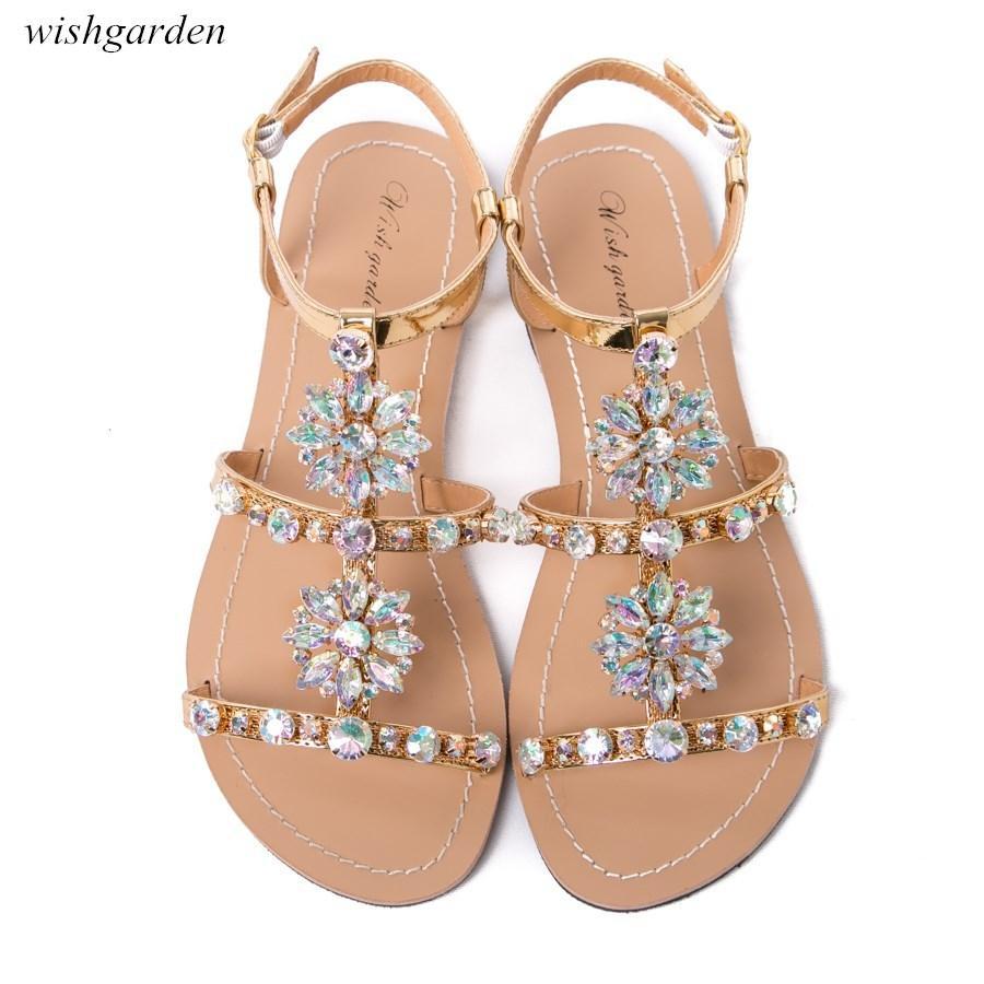 2020 NUOVO Women`s estate Boemia diamante spiaggia Sandali piatti donna casual con strass brillanti boho scarpe Formato più peep toe pantofole Y200620