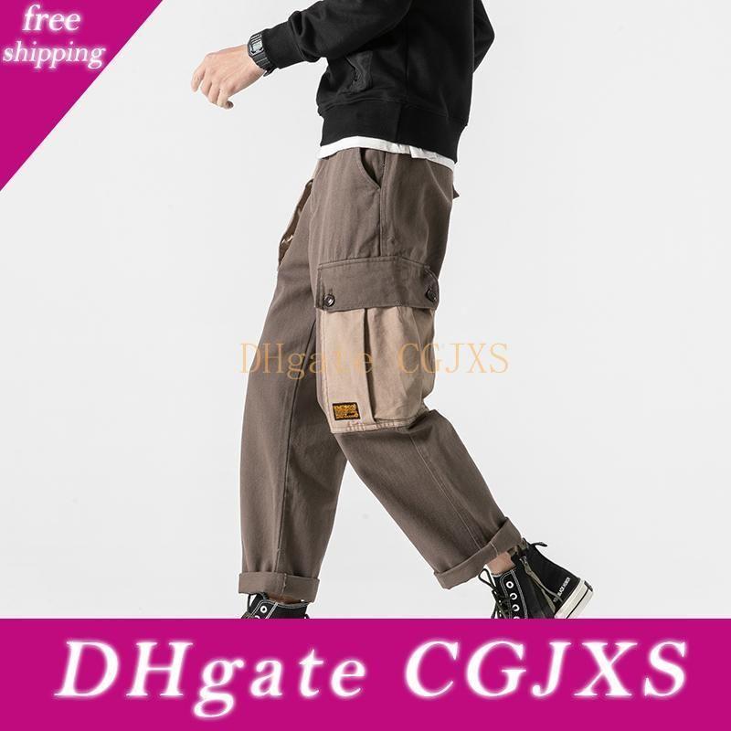 Homens Japão Streetwear soltas Casual carga Pant masculino perna larga Calças Hip Hop Dance Hetero Harem Pant