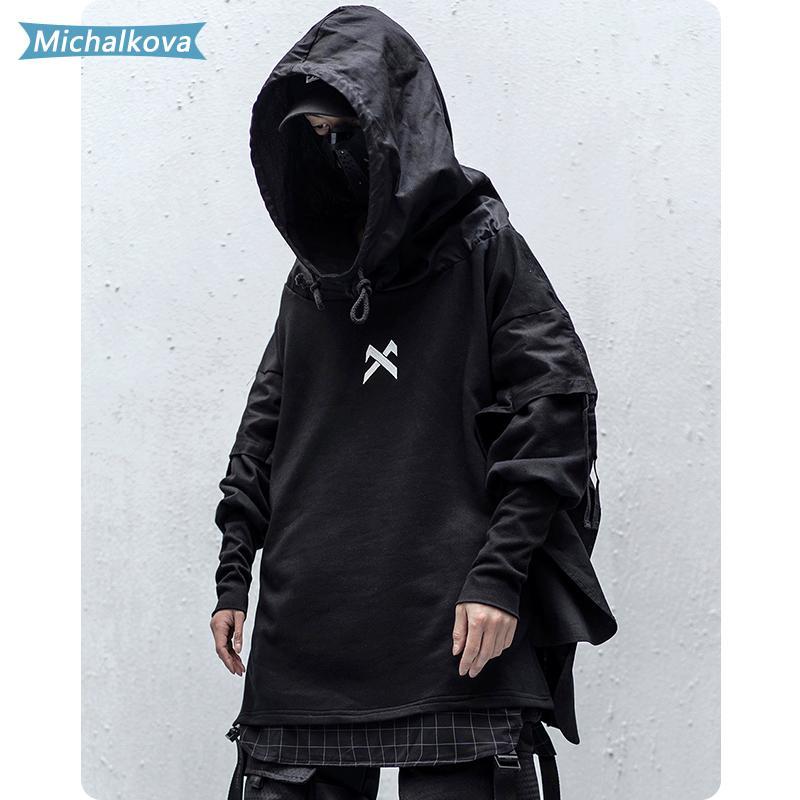 Japonés Hip Hop Streetwear hombre sudaderas Embroideried Pullover remiendo falso Dos DarkWear Tops sudaderas Techwear Michalkova