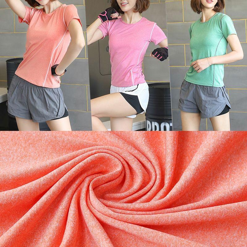 mLnyd Yaz Yoga Fitness tişört ve şort kadın sıkı kısa kollu tişört kadın rahat üst yeni sahte iki parçalı şort uyacak