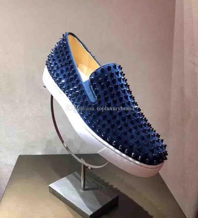 Mocassins Red inferior da sapatilha Moda cravado Homens Loafer vestido sapatos de luxo festa de casamento Sapatos de couro genuíno Spikes Lace-up Casual Shoes