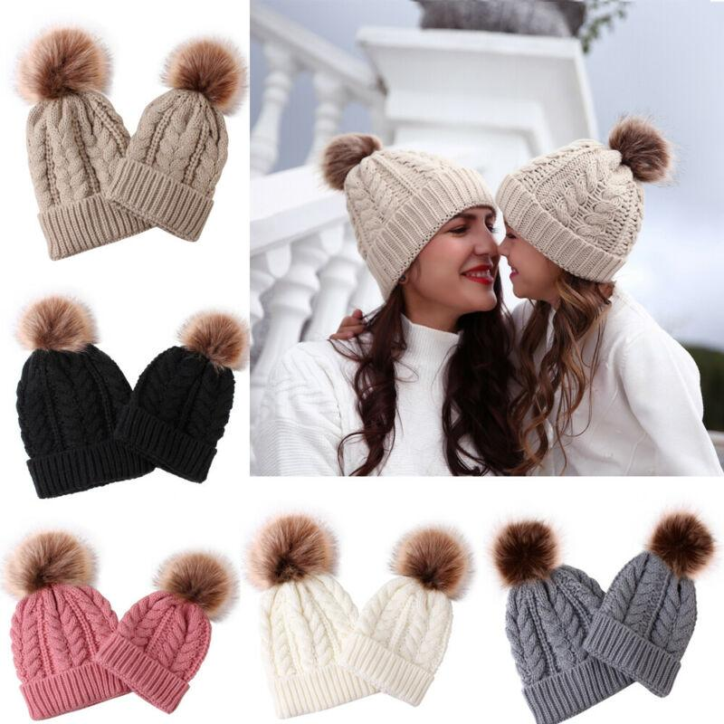 2020 Brand Family 2Pcs Set Knite Caps Women Mother Baby Kid Hat Warm Winter Crochet Wool Beanie Fur Pom Bobble Hat Crochet Cap