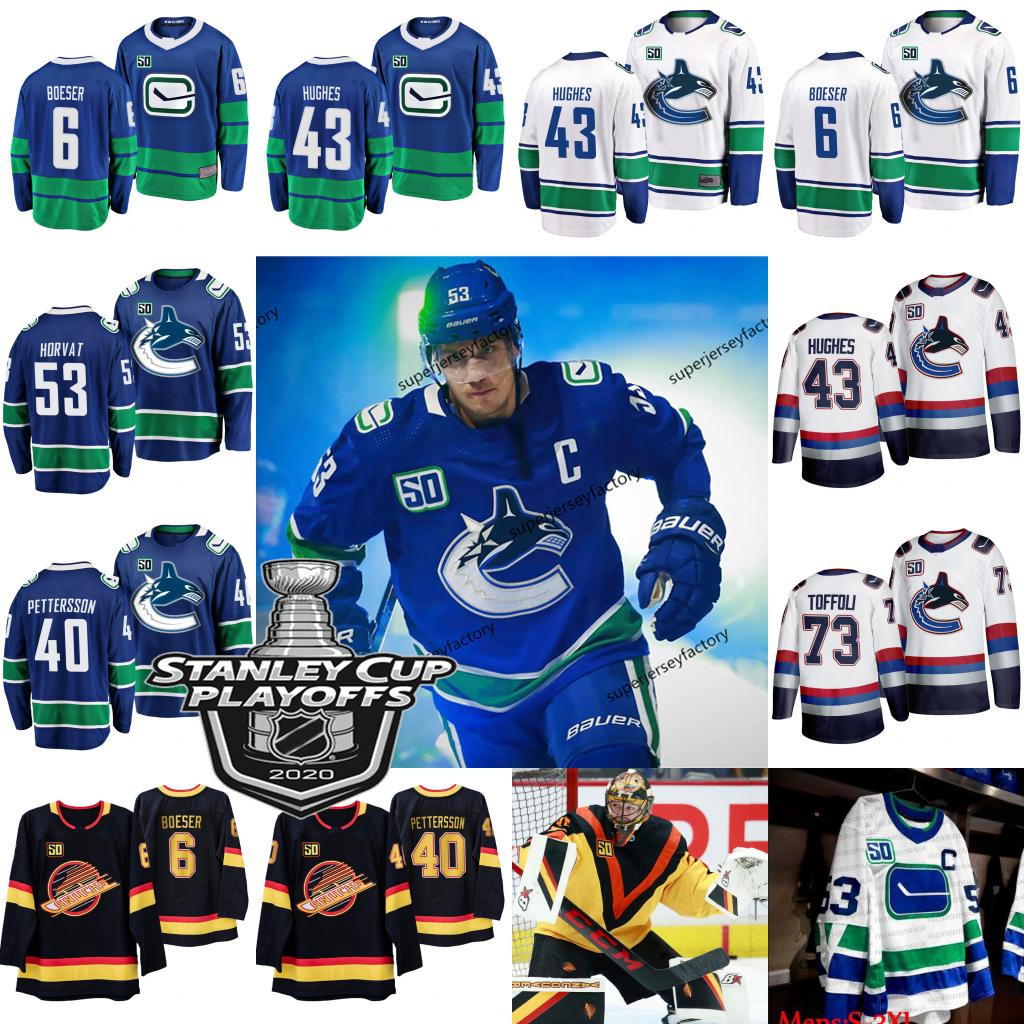 53 Bo Horvat Capitão Vancouver Canucks 2020 Stanley Cup Playoffs Quinn Hughes Brock Boeser Elias Pettersson Jacob Markstro Roussel Jersey