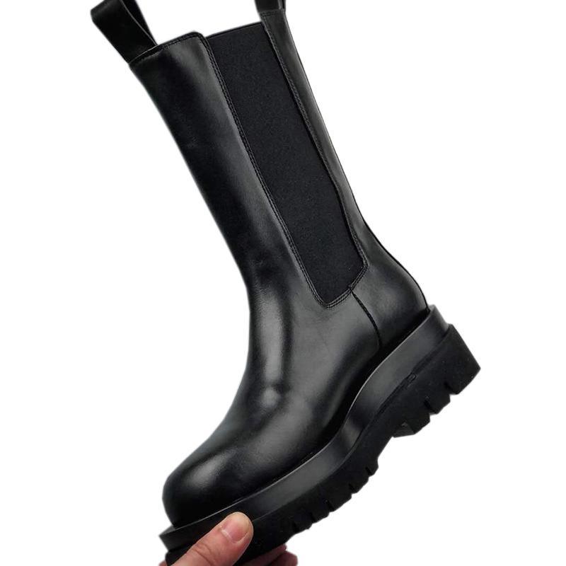 YeniLVBOTTEGAVENETAKalın taban ince kısa botlar rahat ayakkabı üst 35-40 calfskin ile sıcak satış platformu yüksek çizme ins