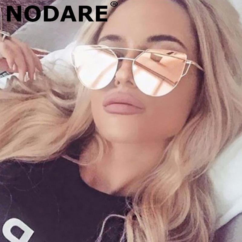 NODARE Fashion Damen Cat Eye Sonnenbrillen für Frauen Brand Design Twin-Beams Rosa Sun-Glas-Metall-Rose Gold Mirror Female oculos