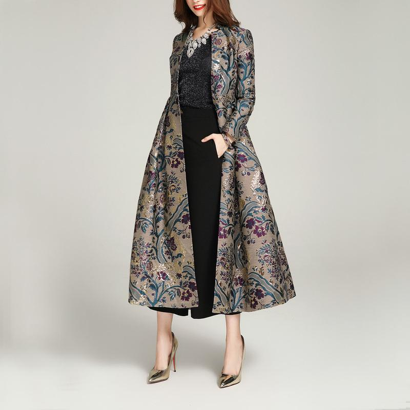 AYUSNUE Long Trench Coat Women Clothes 2020 Luxury Embroidery Women's Windbreaker Overcoat Spring Trench Coats 1678 KJ2481