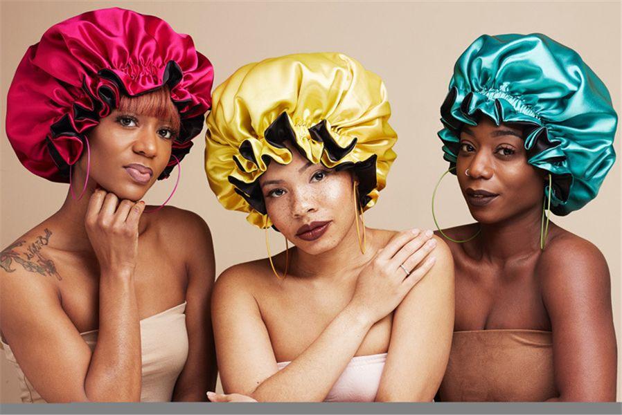 RTS Ipek Gece Kap Şapka Çift Taraflı Kadın Kafa Kapak Uyku Kap Satin Bonnet Güzel Saçlar için - Uyandırma Mükemmel Günlük Fabrika Satış