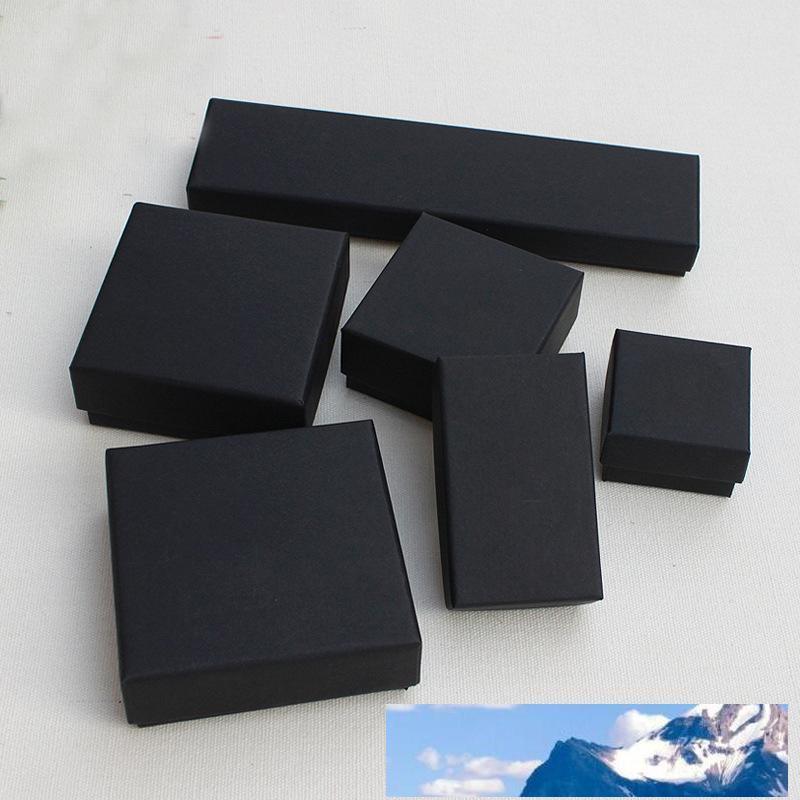 Regalo dei gioielli e scatole di vendita al dettaglio Nero Kraft Imballaggio Braccialetto Collana Anello Ear Nail Box Capodanno Regalo di Natale Personalizza 10 Dimensione Seleziona