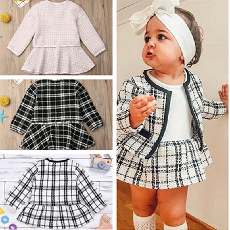 Toddler Girls Princess Suit Two-piece Skirt Set Designers Kids Coat Plaid Jacket and Dresses Baby Autumn Fashion Clothing Dress suit D82802