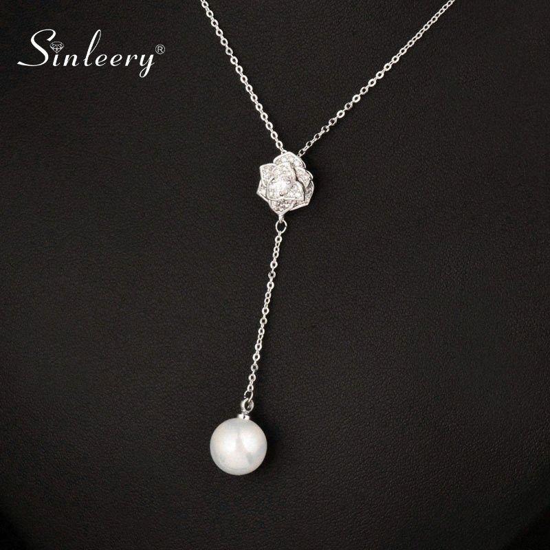SINLEERY elegante longo colar de pingente de pérola colar para mulheres jóias de casamento acessórios XL090 SSH P49P #