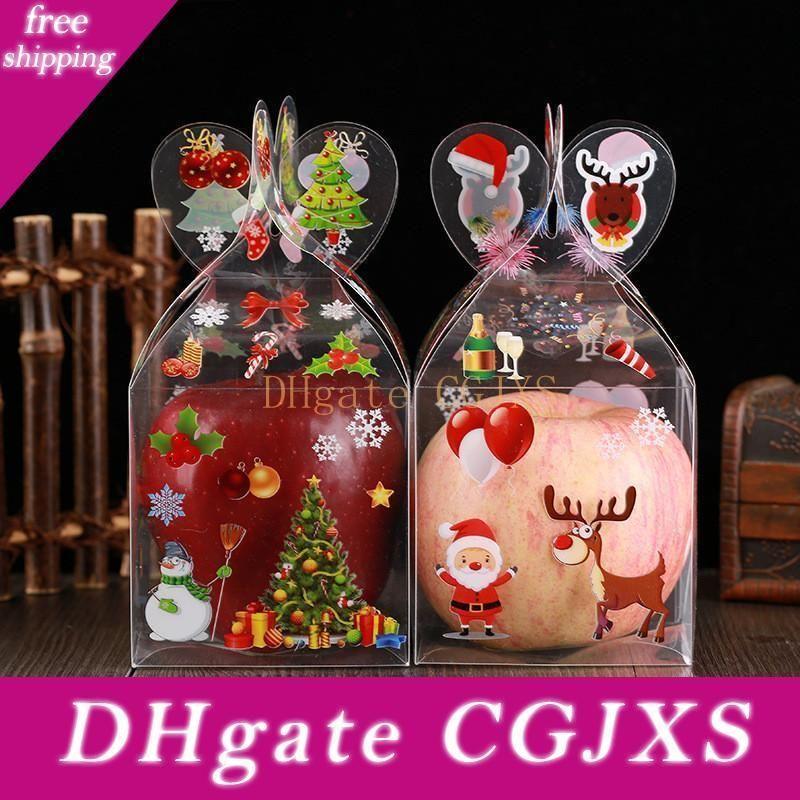 Noël Même clair boîte-cadeau de Noël Imprimé bonhomme de neige Elk Père Noël Arbre de Noël Treats Bonbons Candy Apple Boîtes Favors Wrap Lx1178