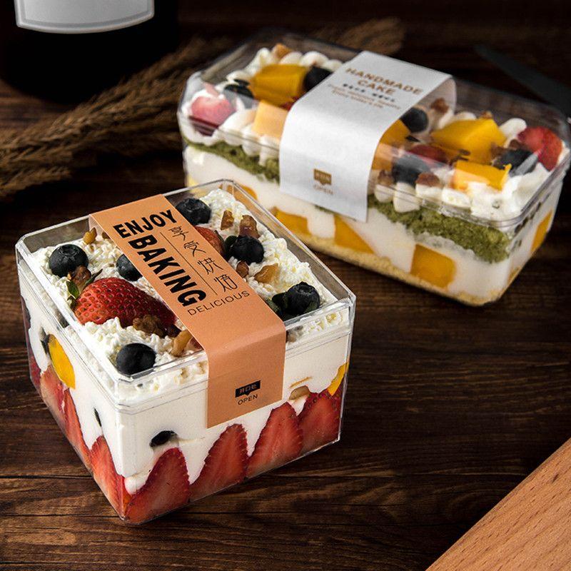 20шт Высокого качества квадратного торт коробка выпечка упаковочных печений десерта партия коробка дня рождения одолжения коробки прозрачный цветочный подарок